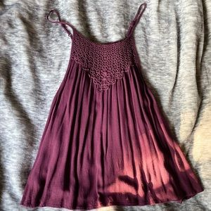 Burgundy, embroidered top with adjustable straps